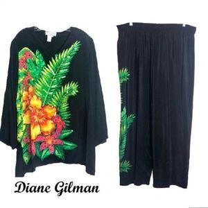 Diane Gilman 100% Silk 2 pc Outfit Sz 2X